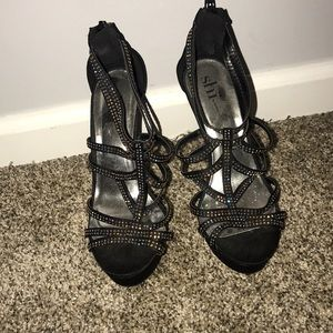 Open toed, strappy heels